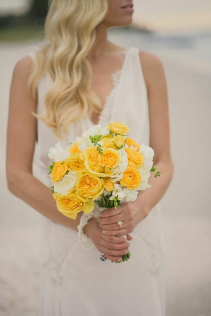 Bride, Bridal Bouquet, Yellow Floral, Yellow Wedding Ideas, Beach Wedding Ideas, Port Royal Club, Ryan Joseph Photographs, A Chair Affair Rentals