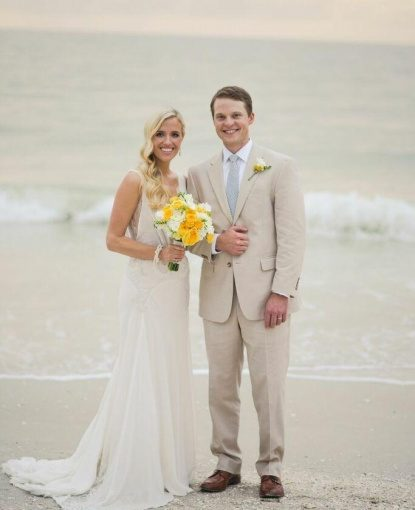 Bride-Groom-Yellow-Floral-Yellow-Wedding-Ideas-Beach-Wedding-Ideas-Port-Royal-Club-Ryan-Joseph-Photographs-A-Chair-Affair-Rentals