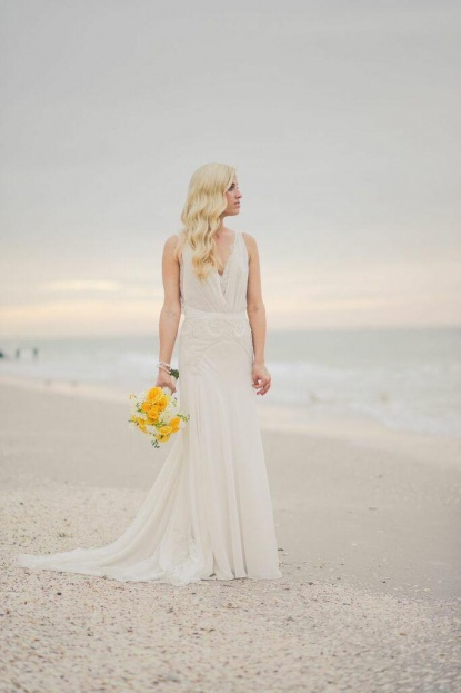 Bride, Yellow Floral, Yellow Wedding Ideas, Beach Wedding Ideas, Port Royal Club, Ryan Joseph Photographs, A Chair Affair Rentals
