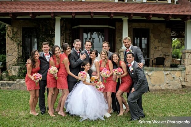 Coral Bridesmaid Dresses, Tavern and Chapel in the Garden, Kristen Weaver Photography, A Chair Affair Event Rentals