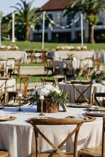 French Country Chairs, Rattan Wicker Chargers, White Floral Centerpieces, Lakeland Florida, Sunglow Photography, A Chair Affair Rentals