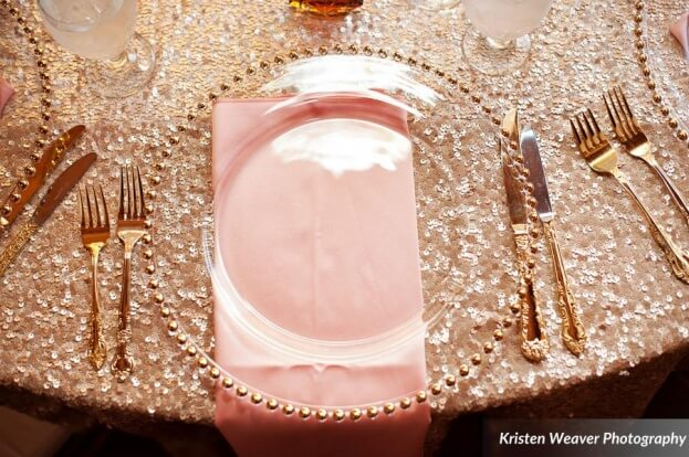 Gold Beaded Glass Chargers, Tavern and Chapel in the Garden, Kristen Weaver Photography, A Chair Affair Event Rentals