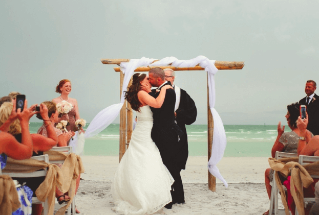 Honeymoon Island-Outdoor Wedding Ideas-First Kiss-A Chair Affair Wedding Rentals