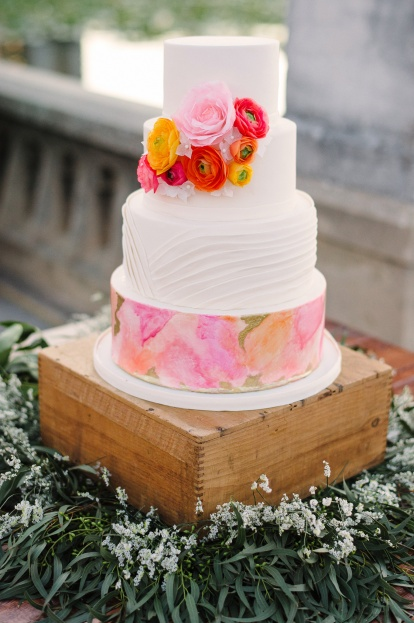 Orange Floral, Pink Flora, Watercolor Wedding Cake, Lakeland Florida, Sunglow Photography, A Chair Affair Rentals