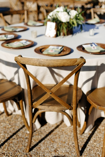 Rattan Wicker Chargers, French Country Chairs, White Floral Centerpieces, Lakeland Florida, Sunglow Photography, A Chair Affair Rentals