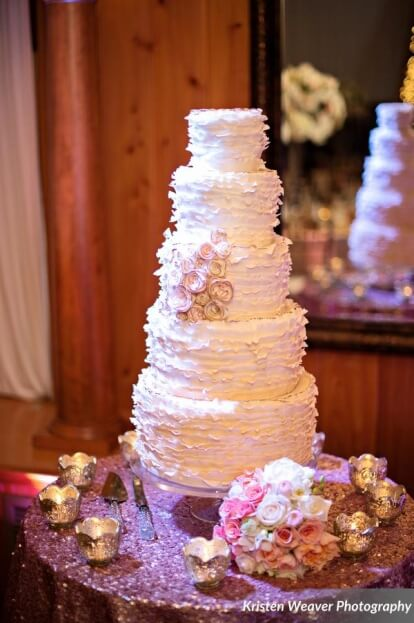 Ruffle Wedding Cake, Tavern and Chapel in the Garden, Kristen Weaver Photography, A Chair Affair Event Rentals