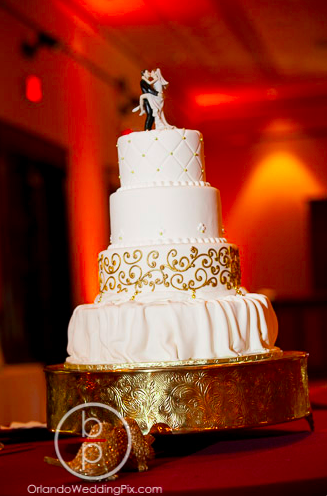 Wedding Cake Ideas, Gold Cake Stand, Ballroom at Church Street, Orlando Wedding Pix, A Chair Affair Rentals