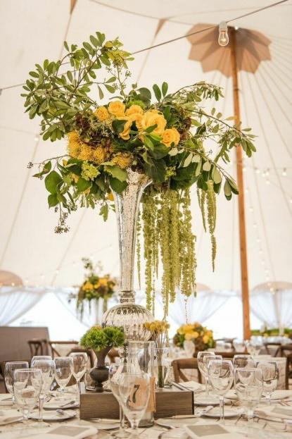 Yellow Floral, Silver Belmont Glass Chargers, Yellow Wedding Ideas, Beach Wedding Ideas, Port Royal Club, Ryan Joseph Photographs, A Chair Affair Rentals