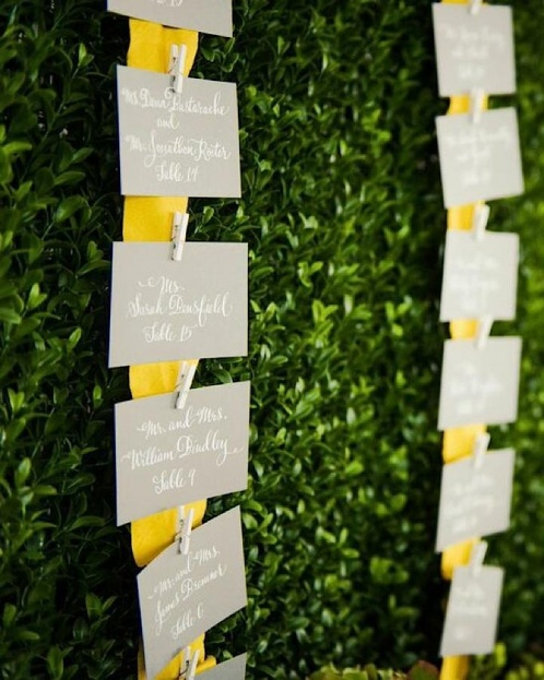 Yellow Wedding Ideas, Beach Wedding Ideas, Escort Cards, Port Royal Club, Ryan Joseph Photographs, A Chair Affair Rentals