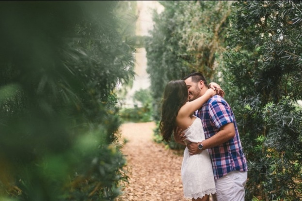 Garden Engagement Picture