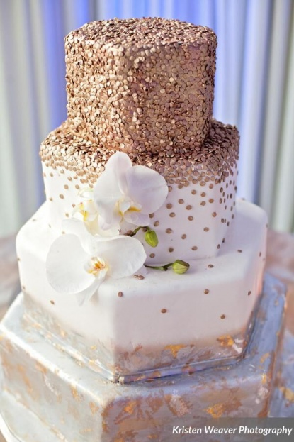 Gold Silver White Wedding Cake