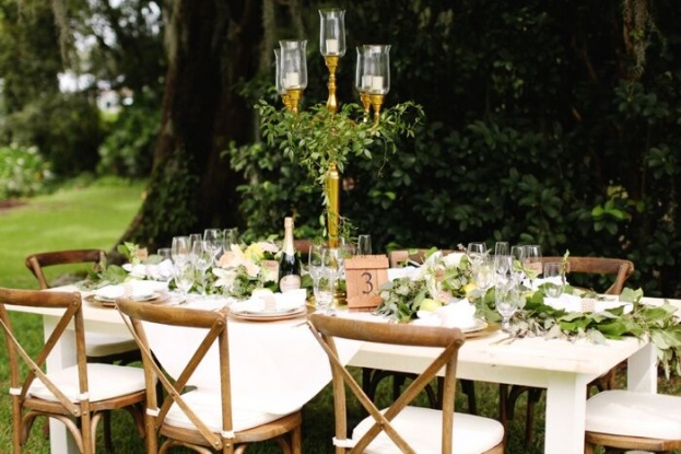 Gold candelabra - French country chairs