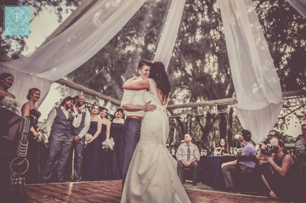 Backyard Wedding: Jennifer and Esther's Navy Dream Wedding