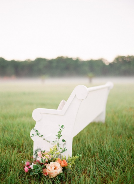 White Church Pew Wedding