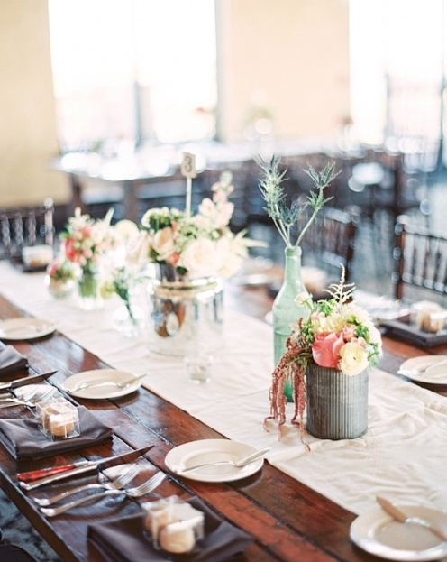 rustic farm table wedding reception