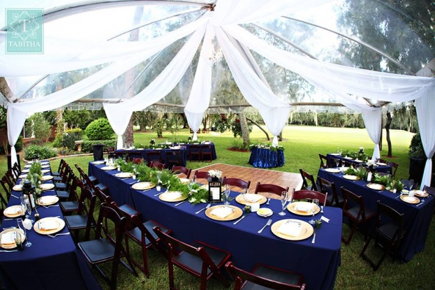 Navy Blue Reception Decor