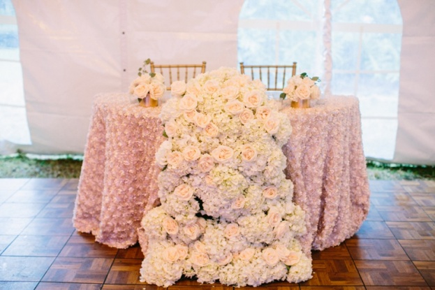 blush and gold wedding sweetheart table
