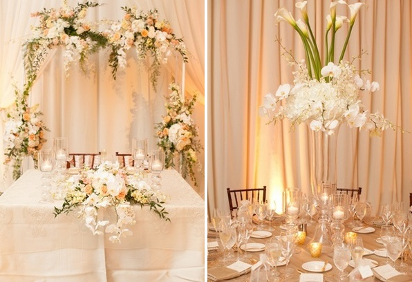 champagne wedding reception floral arch