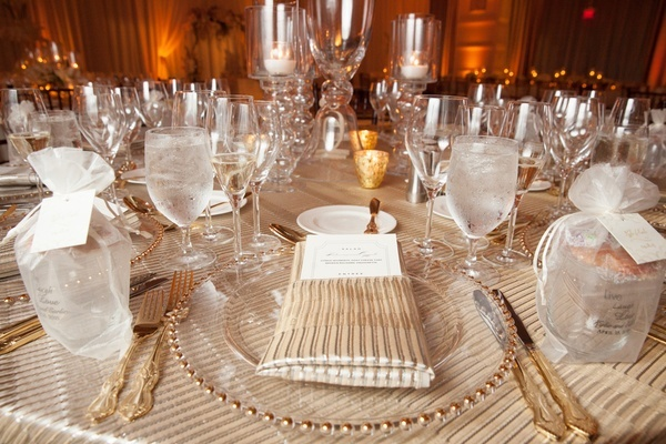 champagne wedding reception linens
