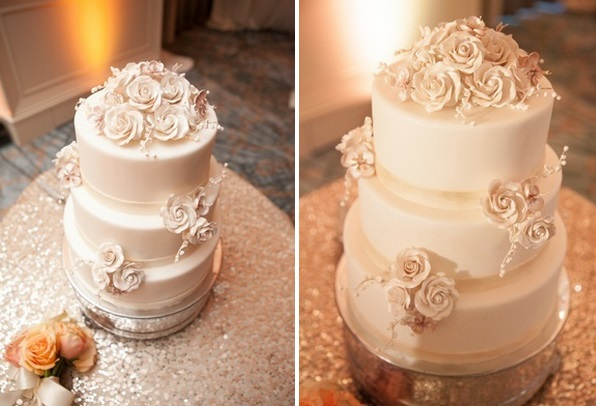 ivory wedding cake sugar flowers