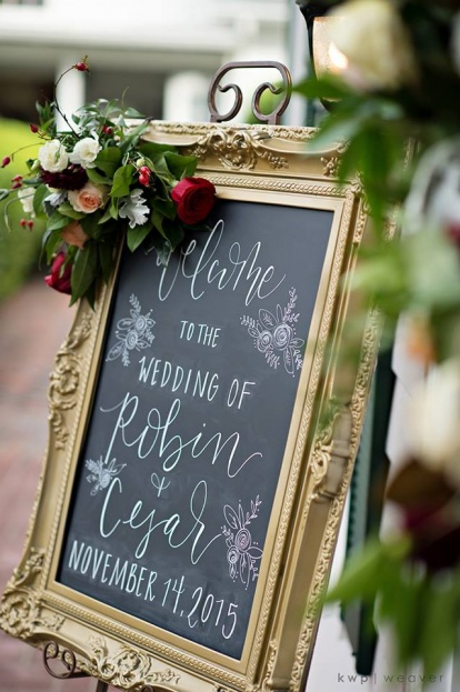 Plantation Style Wedding Chalk Sign
