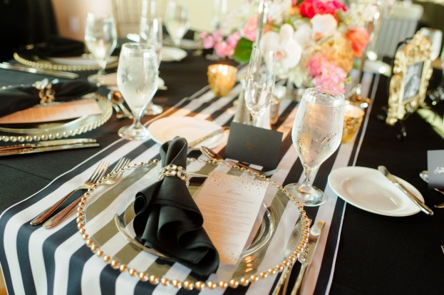 Black White and Gold Wedding Reception