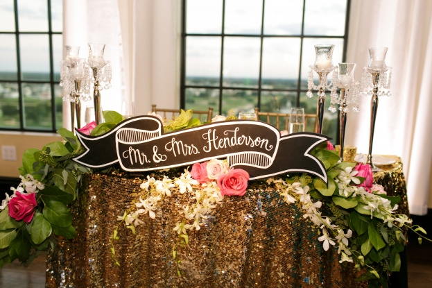 Gold Sweetheart Table-Chalkboard Sign