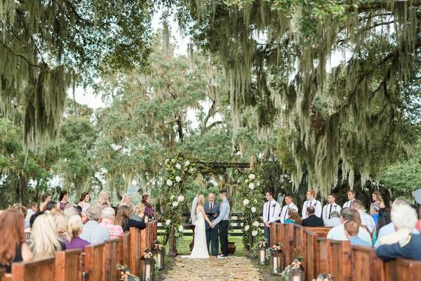 Rustic Outdoor Wedding Ceremony Church Pews
