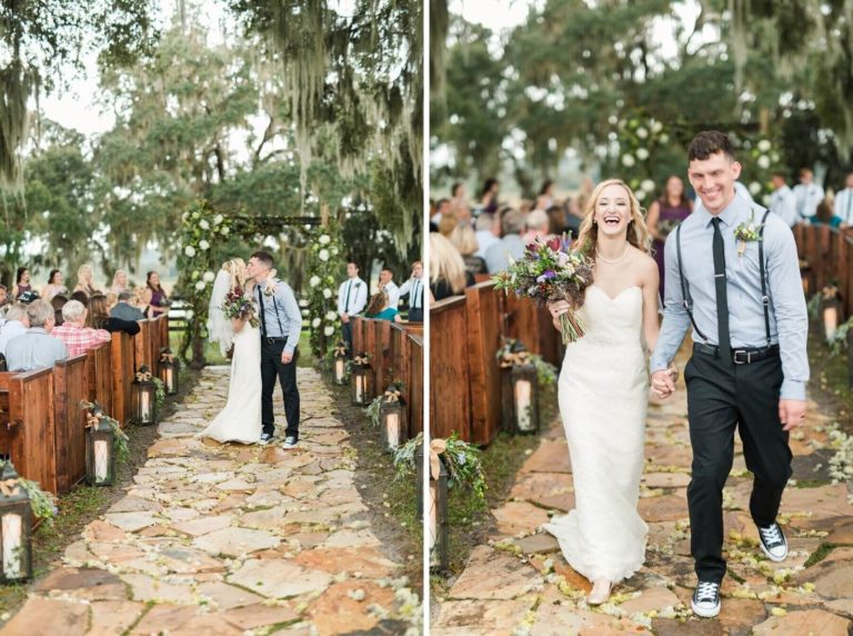 rustic outdoor wedding ceremony exit
