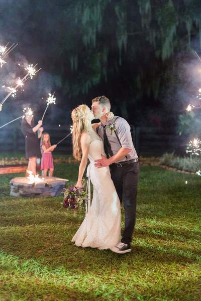 rustic outdoor wedding sparkler exit