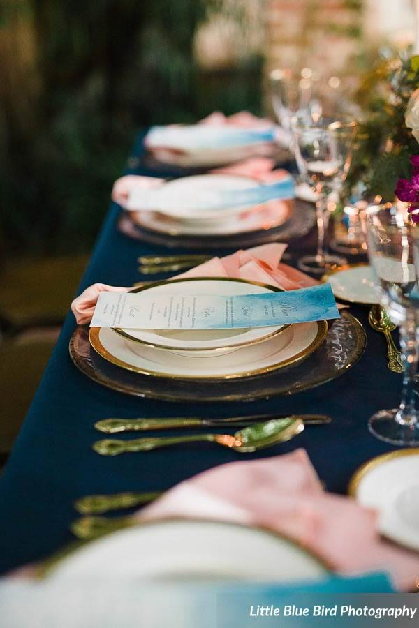 watercolor wedding inspiration blue dinner menu