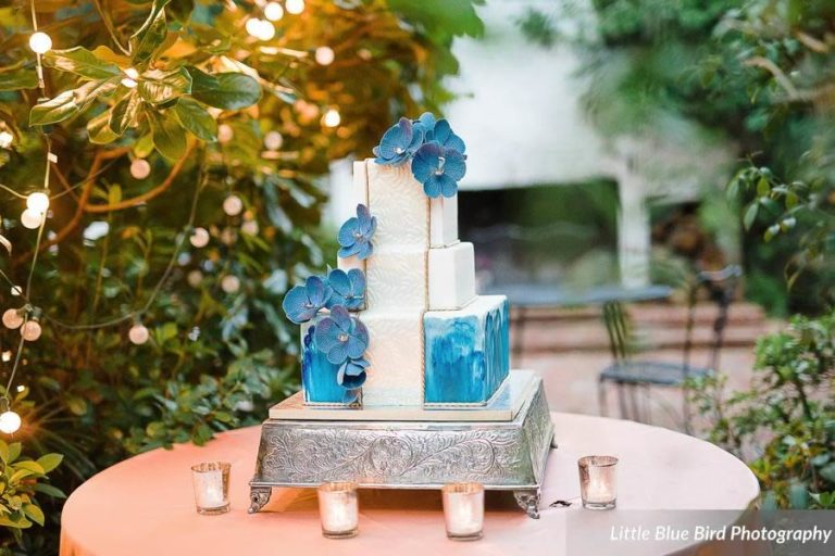 watercolor wedding inspiration blue floral cake
