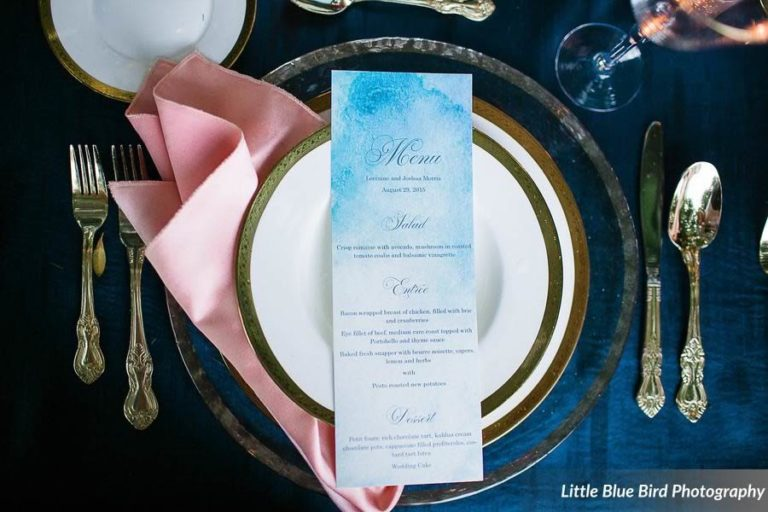 watercolor wedding inspiration gold rimmed charger and flatware