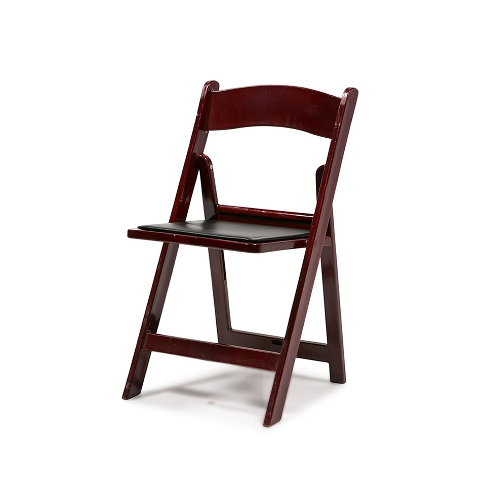 Mahogany Resin Folding Chair - A Chair Affair Rentals