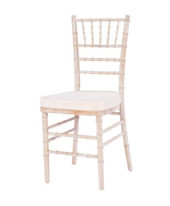 Whitewashed Chiavari - Ivory Pad - A Chair Affair
