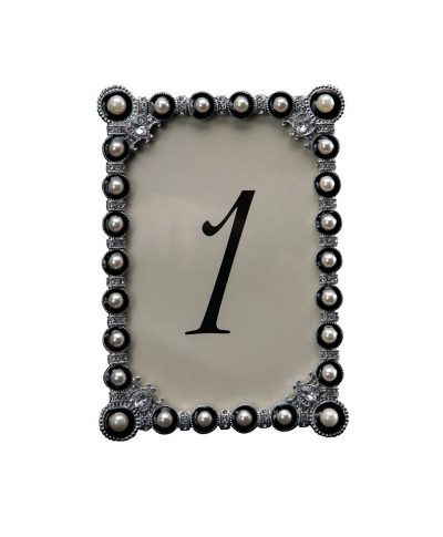 Beaded Charcoal Table Number- A Chair Affair