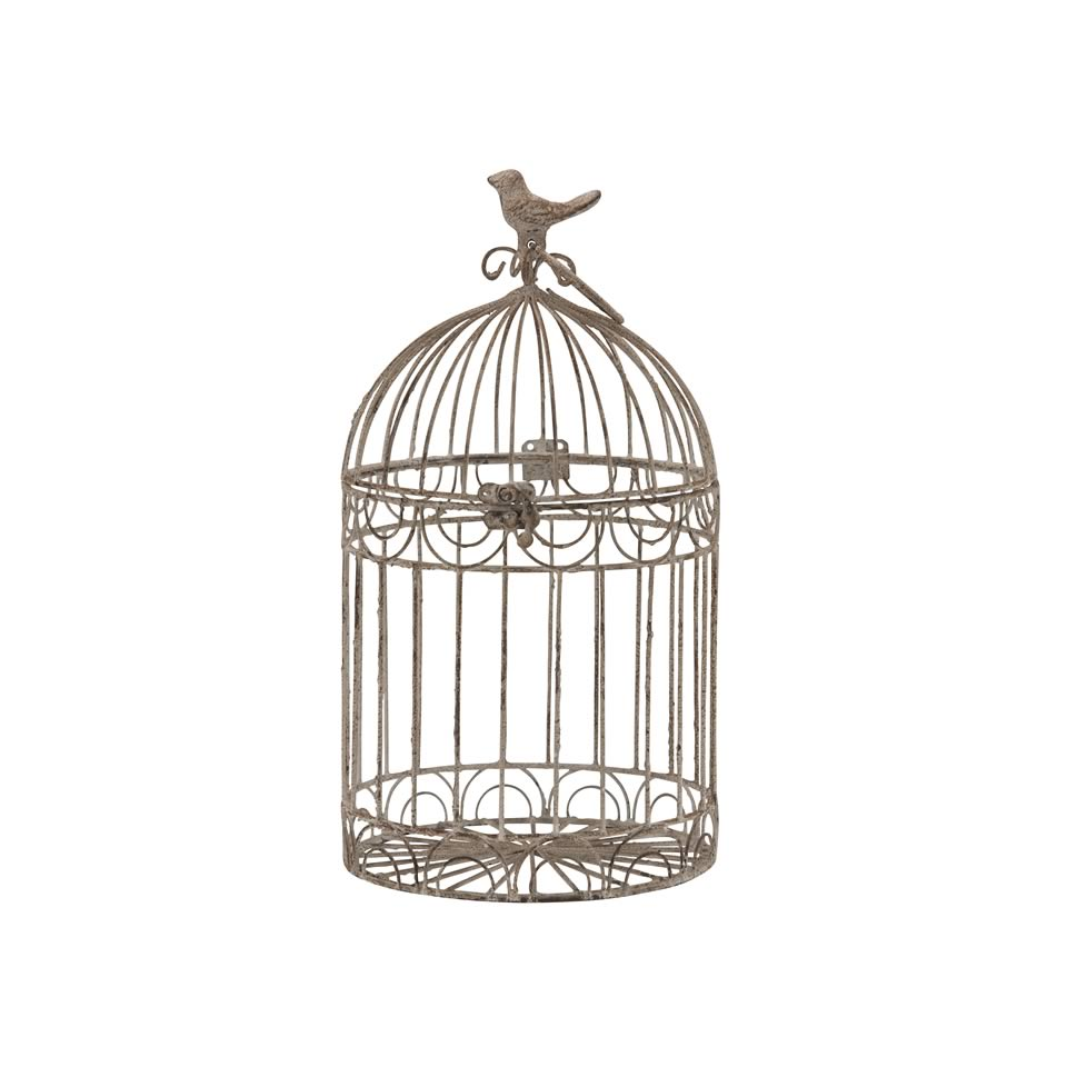 14 Quot Beige Rustic Metal Bird Cage A Chair Affair Inc