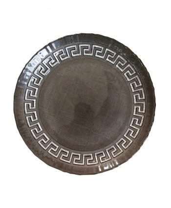 Black Aztec Glass Charger - A Chair Affair