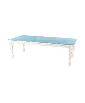 Chameleon table light blue top