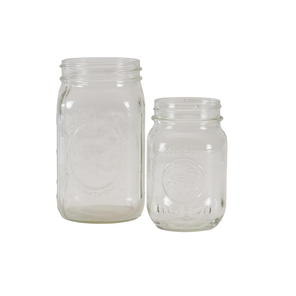 Clear mason jar a chair affair inc for Why are mason jars called mason jars