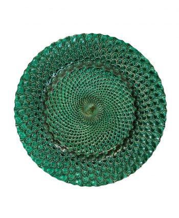 Emerald Peacock Glass Charger - A Chair Affair