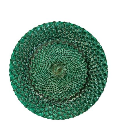 Emerald Peacock Glass Charger – A Chair Affair