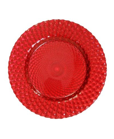 Red Peacock Glass Charger – A Chair Affair (1)