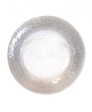 Silver Glitter Rim Spiral Glass Charger - A Chair Affair
