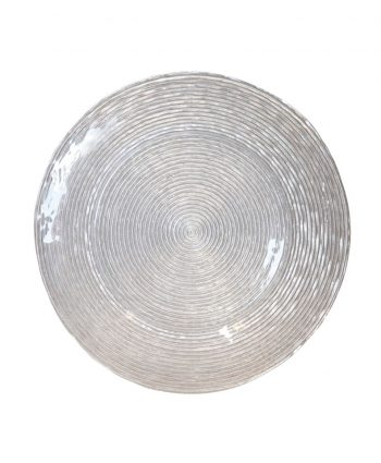 Silver Glitter Spiral Glass Charger - A Chair Affair