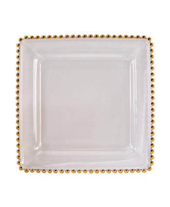 Square Gold Belmont Glass Charger - A Chair Affair Rentals