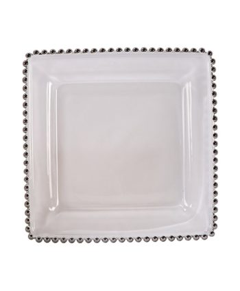 Square Silver Belmont Glass Charger - A Chair Affair Rentals