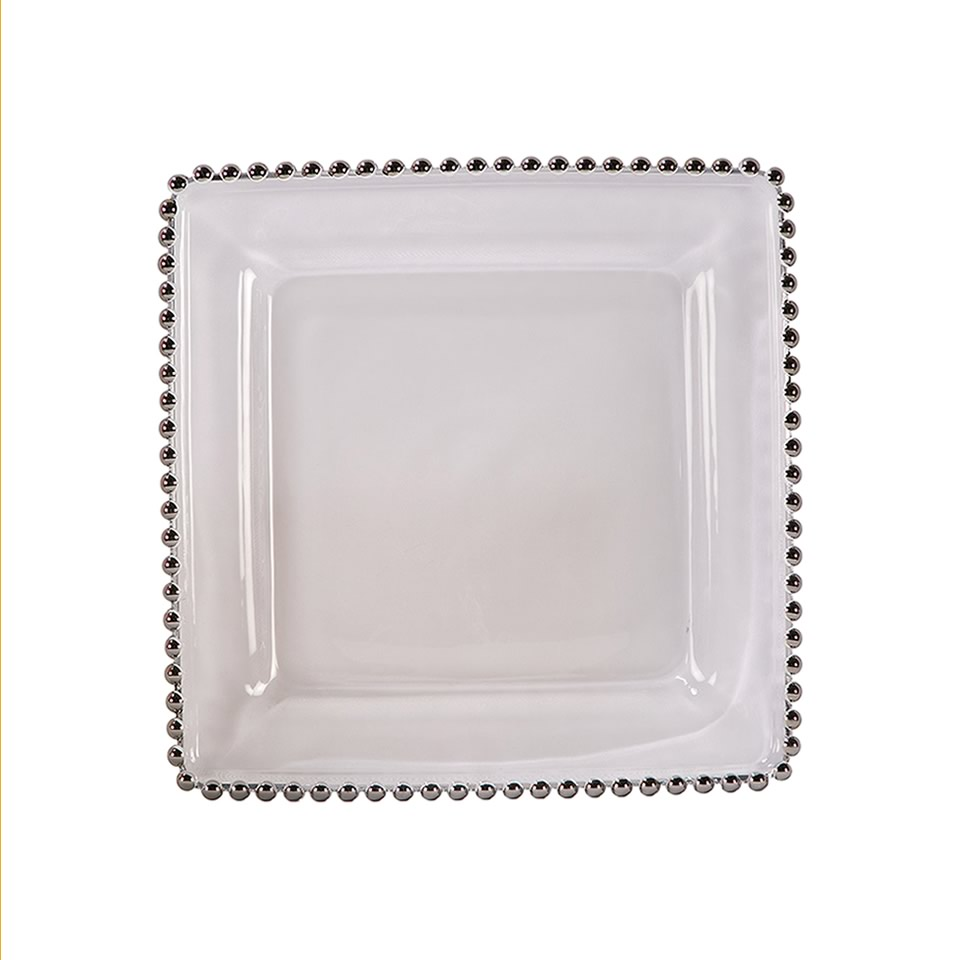 Square Silver Belmont Glass Charger A Chair Affair Inc