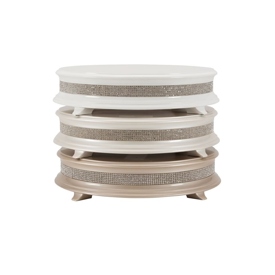 Wood Round Crystal Cake Stand Champagne - A Chair Affair, Inc.