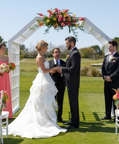 white wood wedding arch – a chair affair